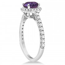 Halo Alexandrite & Diamond Engagement Ring  14K White Gold 2.36ct