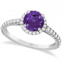 Halo Amethyst & Diamond Engagement Ring  14K White Gold 1.60ct
