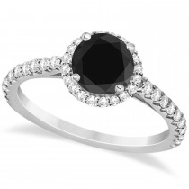 Halo Black Diamond & Diamond Engagement Ring  14K White Gold 1.50ct