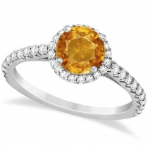 Halo Citrine & Diamond Engagement Ring  14K White Gold 1.60ct