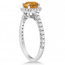 Halo Citrine & Diamond Engagement Ring  14K White Gold 1.60ct