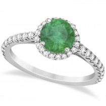Halo Emerald & Diamond Engagement Ring  14K White Gold 1.76ct
