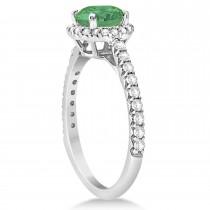Halo Emerald & Diamond Engagement Ring  14K White Gold 1.76ct