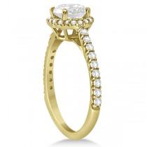 Halo Diamond Bridal Set w/ Side Stones 18K Yellow Gold (1.83ct)