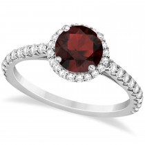 Halo Garnet & Diamond Engagement Ring  14K White Gold 1.90ct