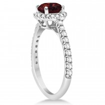 Halo Garnet & Diamond Engagement Ring  14K White Gold 1.90ct