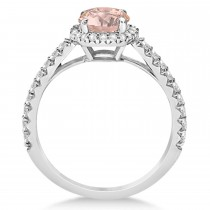 Halo Morganite & Diamond Engagement Ring  14K White Gold 1.60ct
