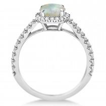 Halo Opal & Diamond Engagement Ring  14K White Gold 1.25ct