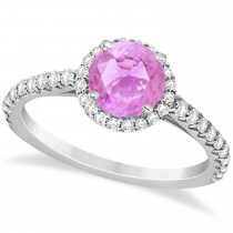 Halo Pink Sapphire & Diamond Engagement Ring  14K White Gold 1.91ct