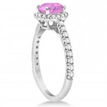 Halo Pink Sapphire & Diamond Engagement Ring  14K White Gold 1.91ct