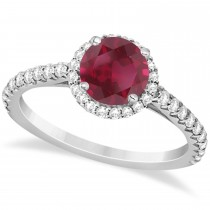 Halo Ruby & Diamond Engagement Ring  14K White Gold 1.91ct