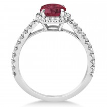 Halo Ruby & Diamond Engagement Ring  14K White Gold 1.91ct