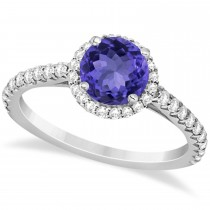 Halo Tanzanite & Diamond Engagement Ring  14K White Gold 1.60ct