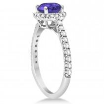 Halo Tanzanite & Diamond Engagement Ring  14K White Gold 1.60ct