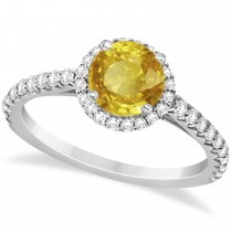 Halo Yellow Sapphire & Diamond Engagement Ring  14K White Gold 1.91ct