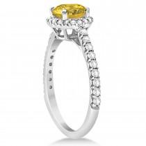 Halo Yellow Sapphire & Diamond Engagement Ring  14K White Gold 1.91ct