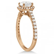 Halo Moissanite Engagement Ring Diamond Accents 18k Rose Gold 2.50ct