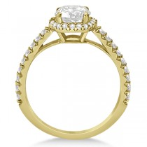 Halo Diamond Bridal Set w/ Side Stones 18K Yellow Gold (1.33ct)