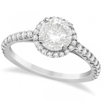 Halo Diamond Engagement Ring with Side Stone Accents 14K W. Gold 1.25ct