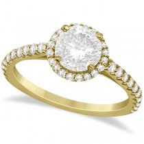 Halo Diamond Engagement Ring with Side Stone Accents 18K Y. Gold 1.25ct