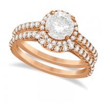 Halo Diamond Bridal Set w/ Side Stones 18K Rose Gold (1.58ct)