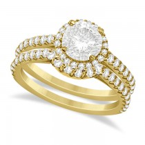 Halo Diamond Bridal Set w/ Side Stones 18K Yellow Gold (1.58ct)