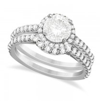 Halo Diamond Bridal Set w/ Side Stones Platinum (1.58ct)