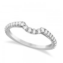 Contoured Diamond Accented Wedding Band 14k White Gold (0.33ct)