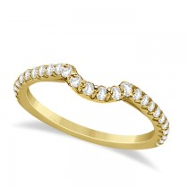 Contoured Diamond Accented Wedding Band 18k Yellow Gold (0.33ct)