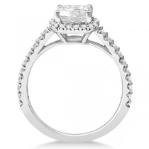 Halo Design Cushion Cut Diamond Engagement Ring 18K White Gold 0.88ct