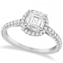 Halo Design Asscher Cut Diamond Engagement Ring 14k White Gold (0.88ct)