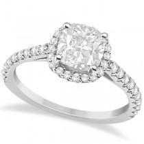 Halo Design Cushion Cut Moissanite Engagement Ring 14K White Gold 1.50ct