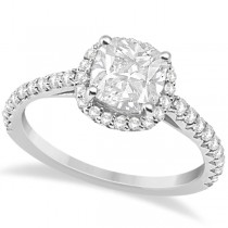 Diamond Halo Cushion Cut Moissanite Engagement Ring 18K W. Gold 0.88ct