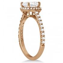 Halo Design Cushion Cut Moissanite Engagement Ring 14K Rose Gold 0.88ct