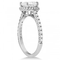Halo Design Cushion Cut Moissanite Engagement Ring in Platinum 0.88ct