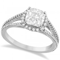 Split Band Cushion Cut Diamond Engagement Ring Halo 14K W. Gold 1.84ct