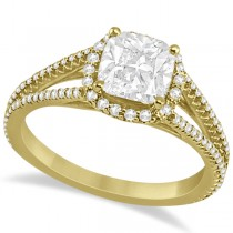 Split Band Cushion Cut Diamond Engagement Ring Halo 18K Y. Gold 1.84ct