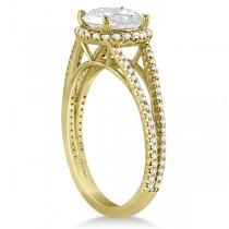 Cushion Cut Moissanite Engagement Ring Diamond Halo 14K Y. Gold 1.84ct