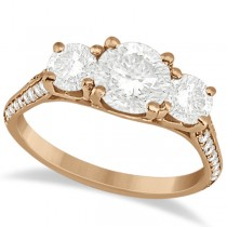 3 Stone Diamond Engagement Ring with Side Stones 18K Rose Gold 2.00ct