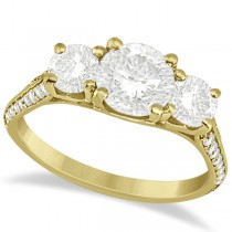 3 Stone Diamond Engagement Ring w/ Side Stones 18K Yellow Gold 2.00ct