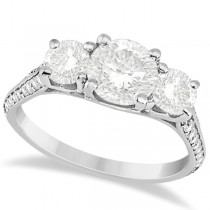 3 Stone Moissanite Engagement Ring w/ Diamonds 18K White Gold 2.00ct