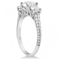 3 Stone Moissanite Engagement Ring w/ Diamonds  Palladium 2.00ct