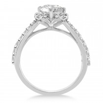 Round Floral Halo Diamond Engagement Ring 14k White Gold 1.38ct