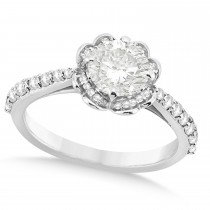 Round Floral Halo Diamond Engagement Ring 18k White Gold 1.38ct