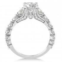 Round Graduating Diamond Engagement Ring 14k White Gold 2.13ct
