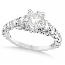 Round Graduating Diamond Engagement Ring 18k White Gold 2.13ct