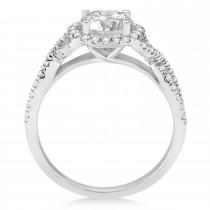 Twisted Infinity Halo Diamond Engagement Ring 14k White Gold 1.39ct