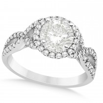 Twisted Infinity Halo Diamond Engagement Ring 18k White Gold 1.39ct