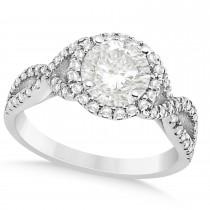 Twisted Infinity Halo Diamond Engagement Ring Palladium 1.39ct