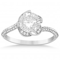 Diamond Floral Swirl Engagement Ring Setting 14k White Gold (0.27ct)